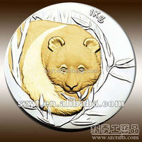 china national treasure panda logo with gold & silver plated metal coins