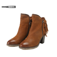 China factory hot sale chunky heel high heel boots