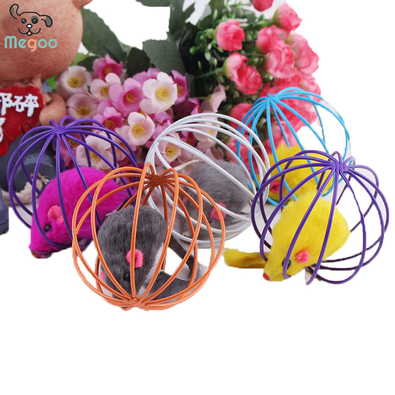 5pcs/lot Cat Toys False Mouse in Rat Cage Ball For Pet Kitten Playing Toys
