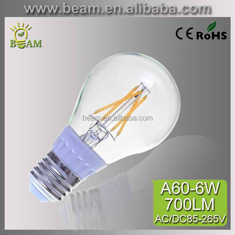 Glass House A60 2W,4W 6W 600lm CE RoHS E27 B22 Led Filament Bulb, light and lighting lamp