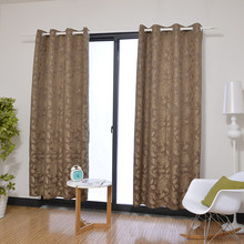 Latest popular jacquard fabric grommet curtain with leaves and flower pattern