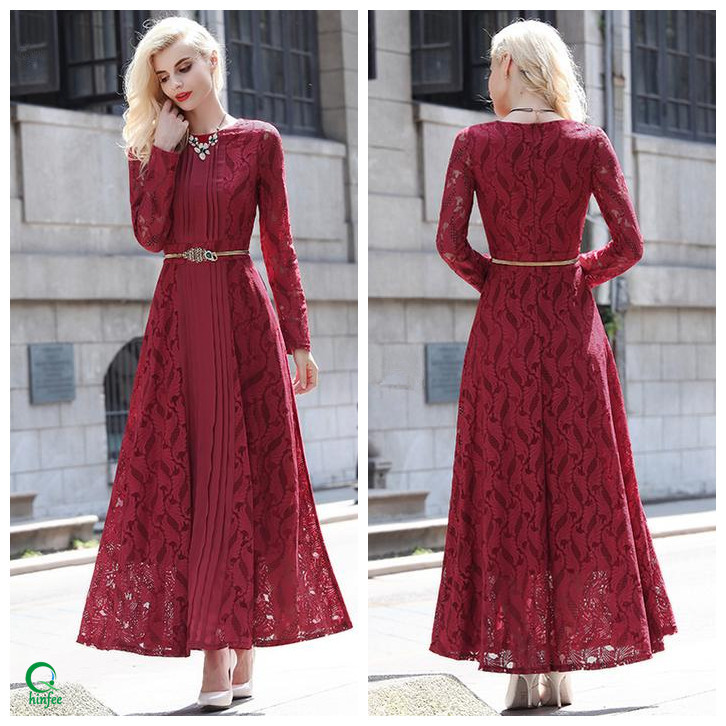 D595 Women Chiffon Lace Pleated Design Red Maxi Elegant Long Sleeve Dress
