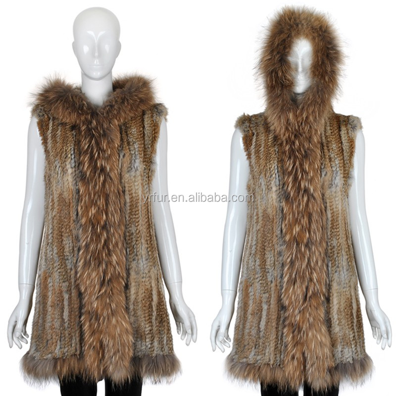 YR628 Women Real Hooded Raccoon And Knitted Rabbit Fur Vest/Knit rabbit and raccoon fur jacket