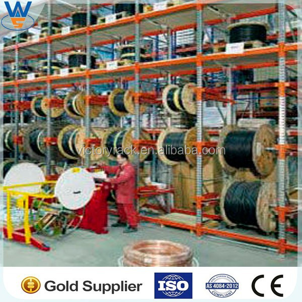 Warehouse cable reel storage rack