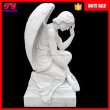 Life size stone hand carved marble cemetery garden weeping angel statue