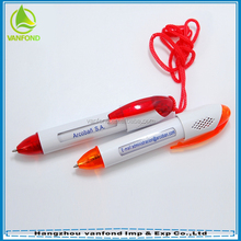 Promotional retractable cord pen for message advertising
