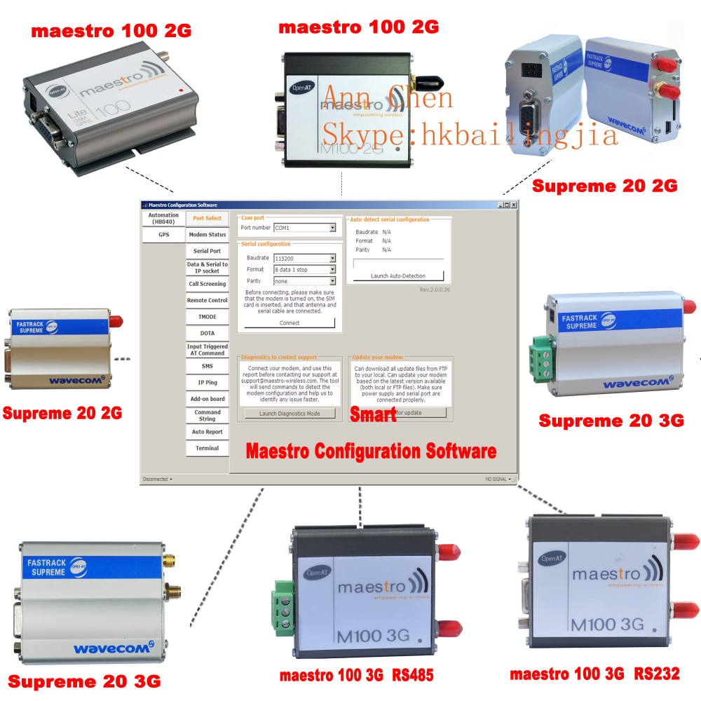 RS232 RS485 interface sms broadcast SMS modem 3G remote control SMS gateway serial port gsm maestro 100 modem