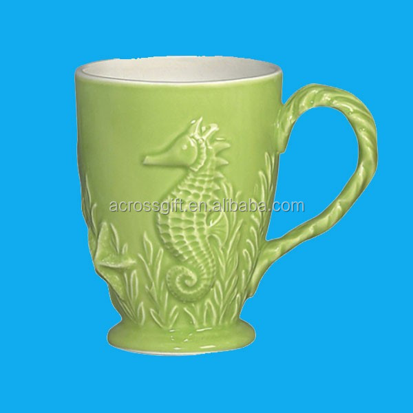 Nautical Ocean Beach ceramic embossed mug