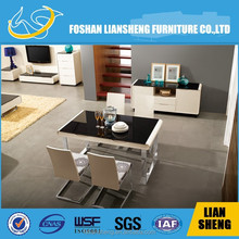 cheap fashionable furniture tempered glass dining table