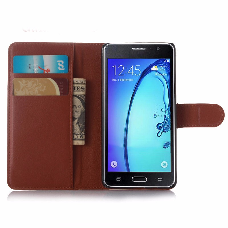 leather wallet mobile phone back case for samsung galaxy on7