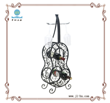 Decorative guitar shaped iron wine rack