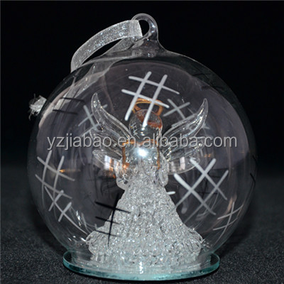 New design hanging christmas ornament, decoration and gift, 100mm clear glass covered angle hold book,, color change LED lights