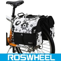 China manufacture flower pattern new city design bike rear pannier bag for bikes 14145-3 bicycle bag
