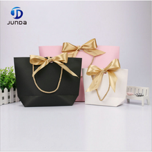 Wholesale colorful laminated bowl shape custom gift paper bag with butterfly ribbon handle