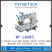 8-NEEDLE FLAT-BED DOUBLE CHAIN STITCH SEWING MACHINE FOR ATTACHING LINE TAPES