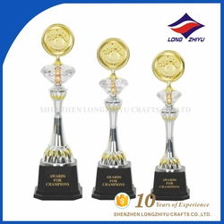 Custom gold color bowling race awads crystal trophy
