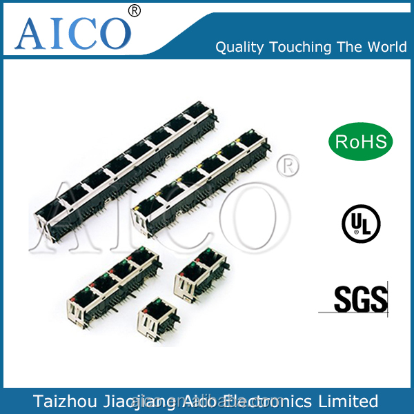 Single port poe rj45 Modular jack connector with LEDs