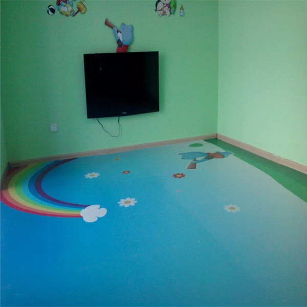 Colored drawing PVC kindergarten classroom flooring