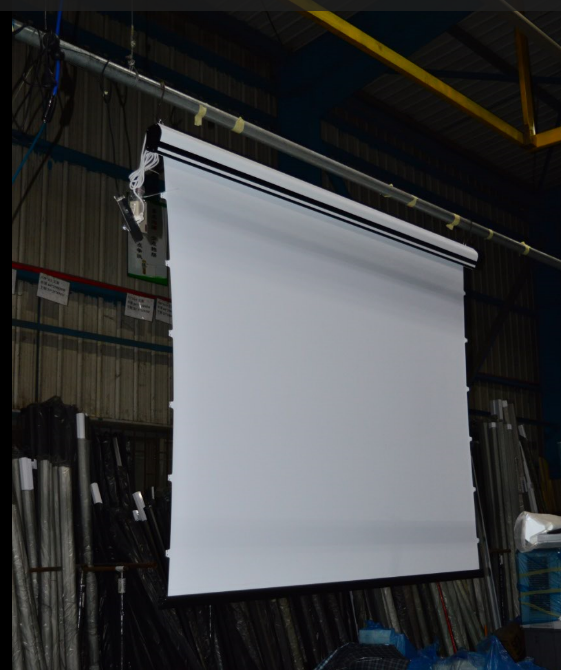 Multi channel large format curved projection screens for Motorized floor up screen