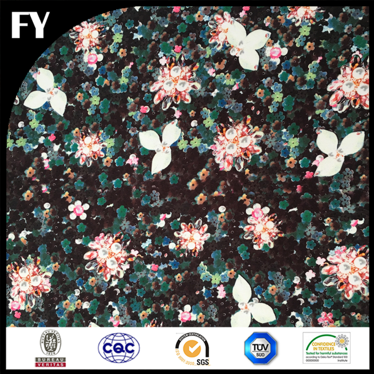 Custom digital thick polyester DTY floral printed fabric