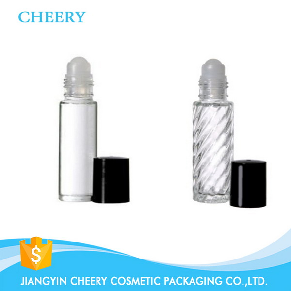 Roll on oil glass bottle with black cap roll on top bottle steel boll 10ml lip balm container
