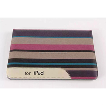Auto Sleep Function Trends Design Fashion Colorful Stripe Leather Book Wallet Case Cover Kickstand for Apple iPad Air 2