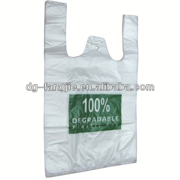 corn starch die cut degradable plastic bag for shopping
