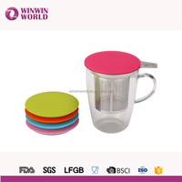 2016 Hot Selling Borosilicate Tea Glass Cup Set With Lid