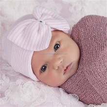 Newborn Hat with Bow - Baby Girl Hospital Hat - High Quality Stretchy winter warm knitted hats