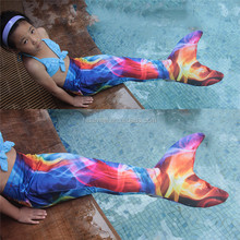 Baby Costume Mermaid Tail for Swimming fantasy colorful printed kids swimwear