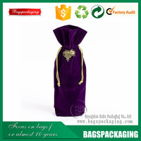Hot desigh drawstring party wholesale velvet wine bag
