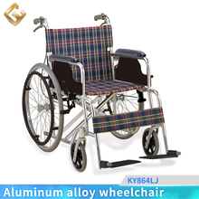 46'' seat width/100kg weight Nylon seat /Black plastic Footplate Aluminum wheelchair with united brake