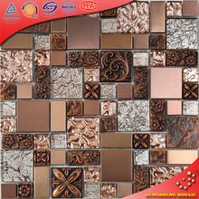 HXL09 Brown Square Glass Mix Metal Mosaic Pattern Kitchen Backsplash