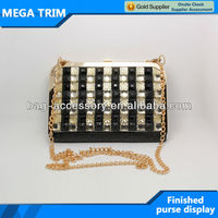 grid leather purse with metal purse frame long light gold color chain purse with efficient services