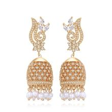 LUOTEEMI Artificial New Designer Traditional Indian Jhumkas Gold Plated Handmade Jewelry Earrings