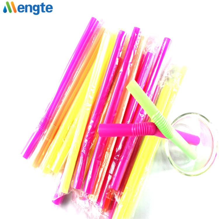factory flexible cute disposable milk juice bag pp bubble tea folding plastic eco drinking collapsible straw
