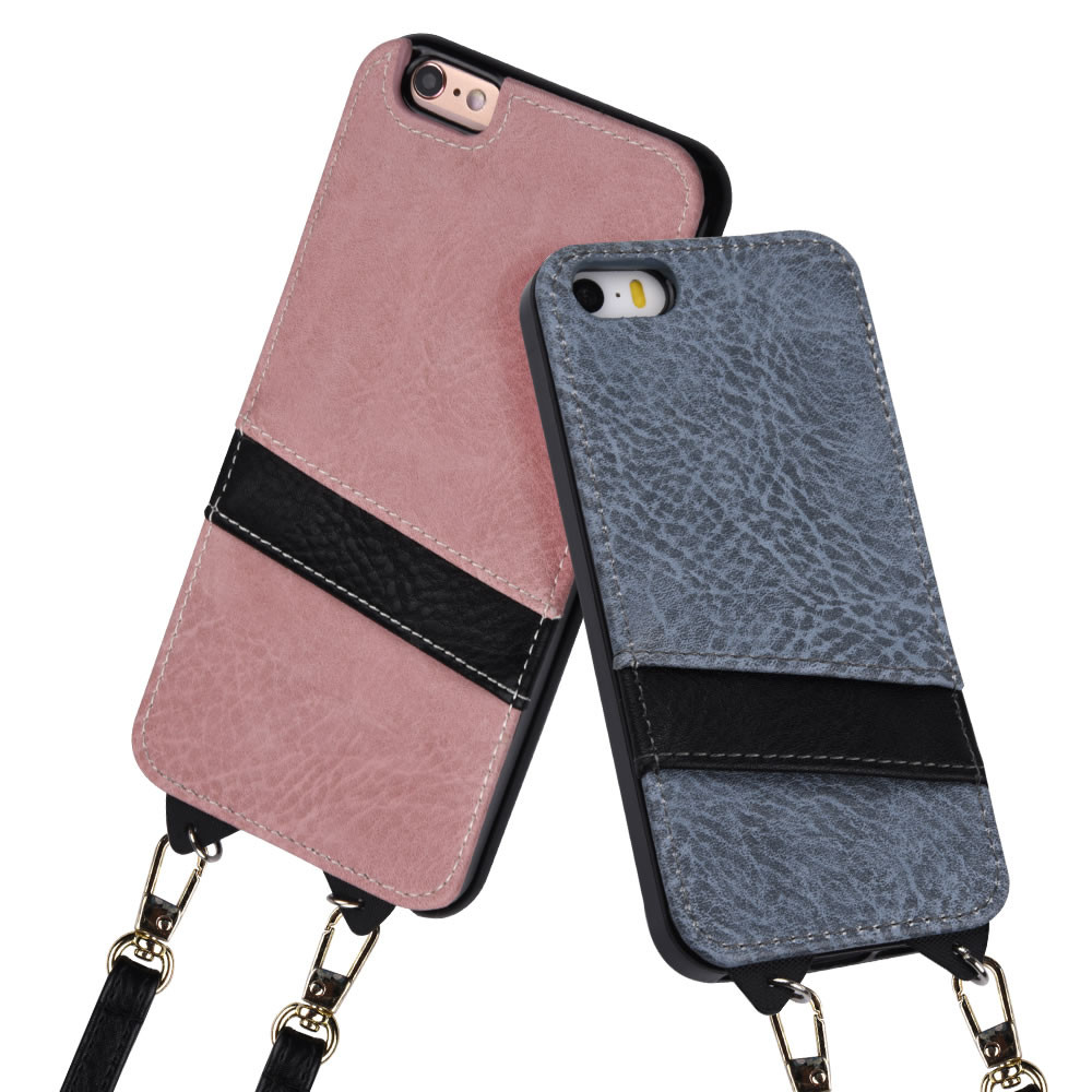 C&T ID Card Holder & Detachable Long Neck Strap PU Leather Case Back Cover for Apple iPhone 6plus 5.5 inch