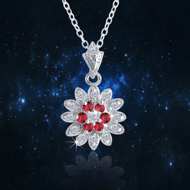 Luxury 24 K white gold plad necklace with AAA Red Zircon Clear zircon pendant necklace for party
