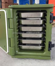 Place hot food in an insulated cabinet for food warm storing and distribution