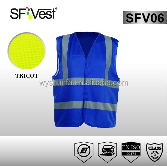 2015 New Products High Visibility Clothing Wholesale Reflective Fluorescent Safety Vest Blue EN ISO