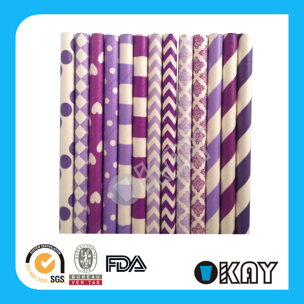 Yellow Theme Lavender And White Striped Paper Straws
