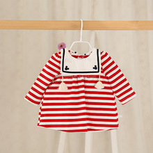 Spring style striped casual girls beautiful baby dresses