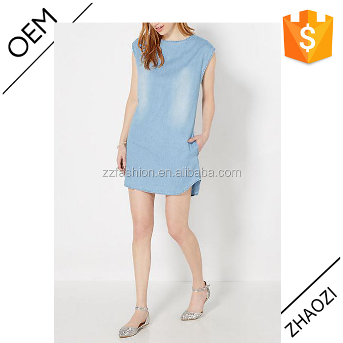 Adult women latest fashion casual sleeveless denim jeans short dress