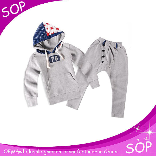 Manufacturer kids grey hooded sweat suits 2016