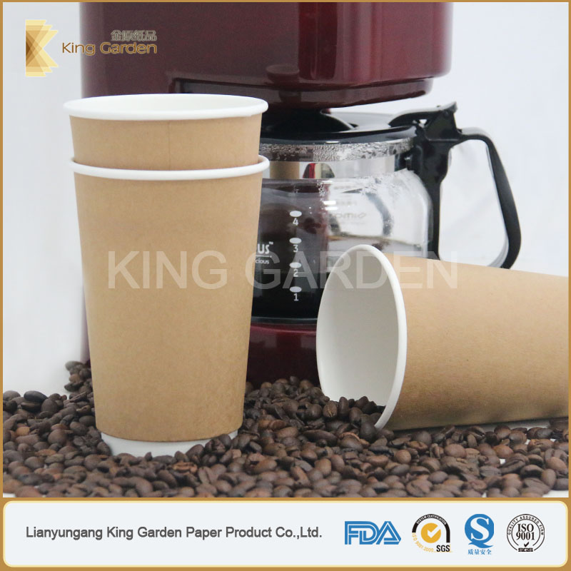 Branded Kraft Double Wall Hot Coffee Paper Cups Stock by king garden