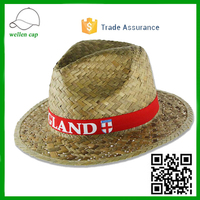 Promotional gift Cheap custom logo on band fedora hat small brim Kwai grass pananma straw hats