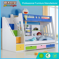 colorful bunk bed furniture with stair wardrobe and desk for kids