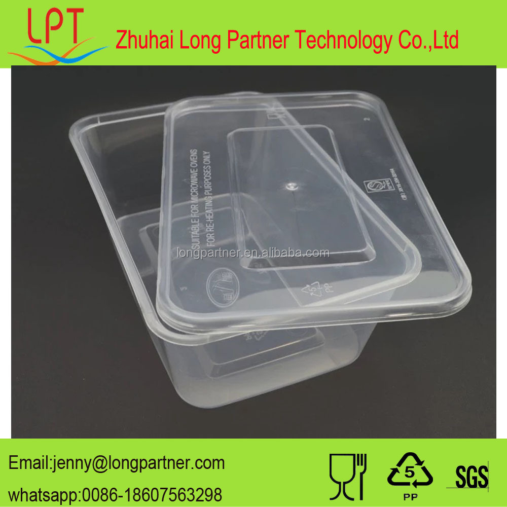 Bulk sell freezer microwave 650ml PP disposable food container
