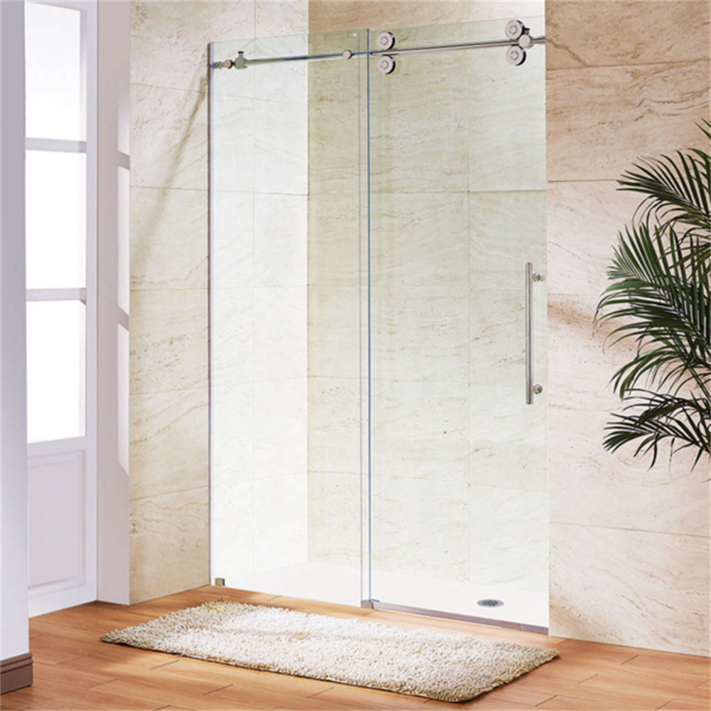 Easy clean fitting sliding glass frameless shower doors for How to clean bathroom sliding glass doors
