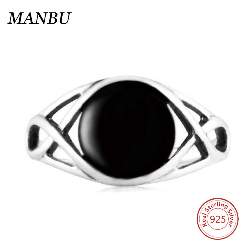 Bling Black onxy Eye Shape 925 Sterling Silver Jewelry Rings